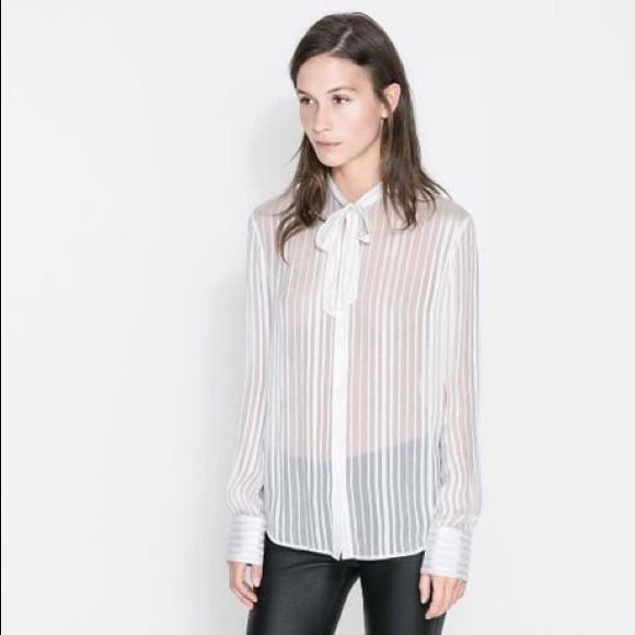 6ed356ee689 Zara Cream Silk Stripes Sheer w/ Bow Blouse
